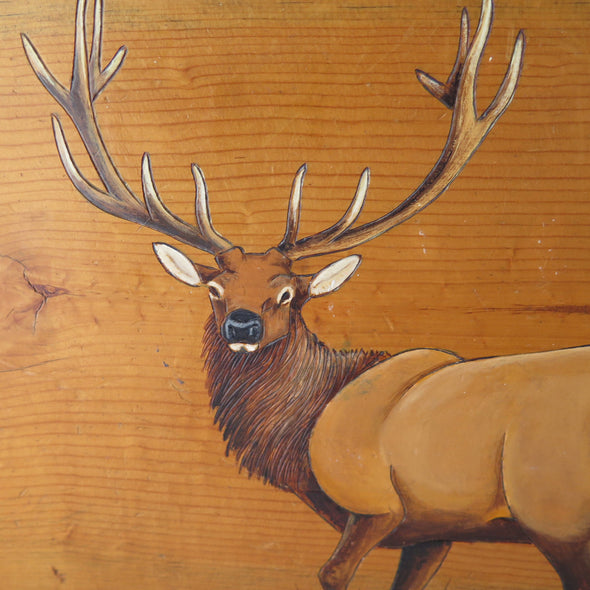 Split Log Painted Elk Side Table close up