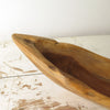 Long Carved Teak Wood Bowl close up