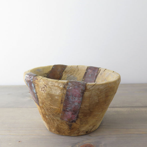 Wood Bowl with Metal Bands