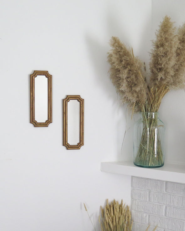 Vintage Homco Faux Bamboo Mirrors