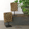 Pair Wood Architectural Fragments on Metal Stands
