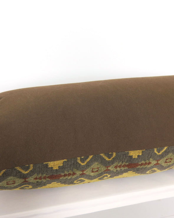 Brown and Gold Geometric Lumbar Pillow 15 x 36