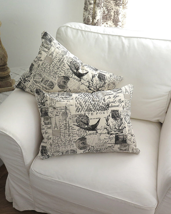 French Postage Print Pillows 16 x 20 pair