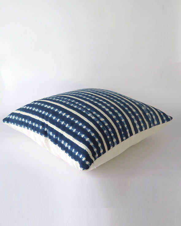 Vintage Indigo Mali Pillow 20 x 20, Authentic Burkina Faso Textile side view