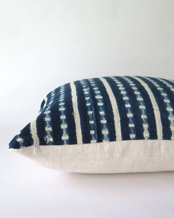 Vintage Indigo Mali Pillow 20 x 20, Authentic Burkina Faso Textile invisible zipper