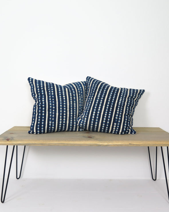 pair of Indigo Burkina Faso Pillows 20 x 20