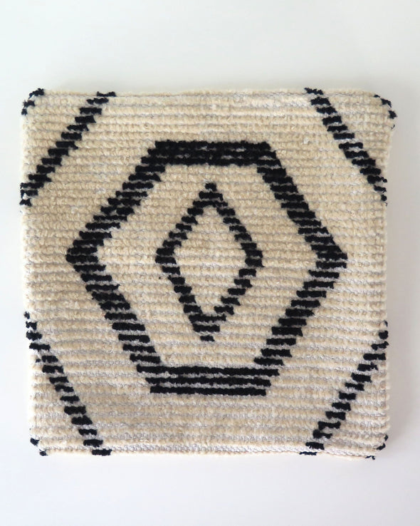 Vintage Moroccan Wool Pillow Cover, Black and Cream,