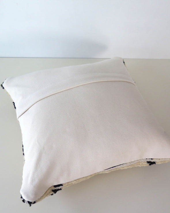 Vintage Moroccan Wool Pillow Cover, Black and Cream, backing