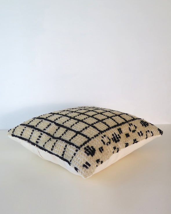 Vintage Black and Cream Moroccan Wool Pillow cover