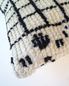 Vintage Black and Cream Moroccan Wool Pillow cover close up