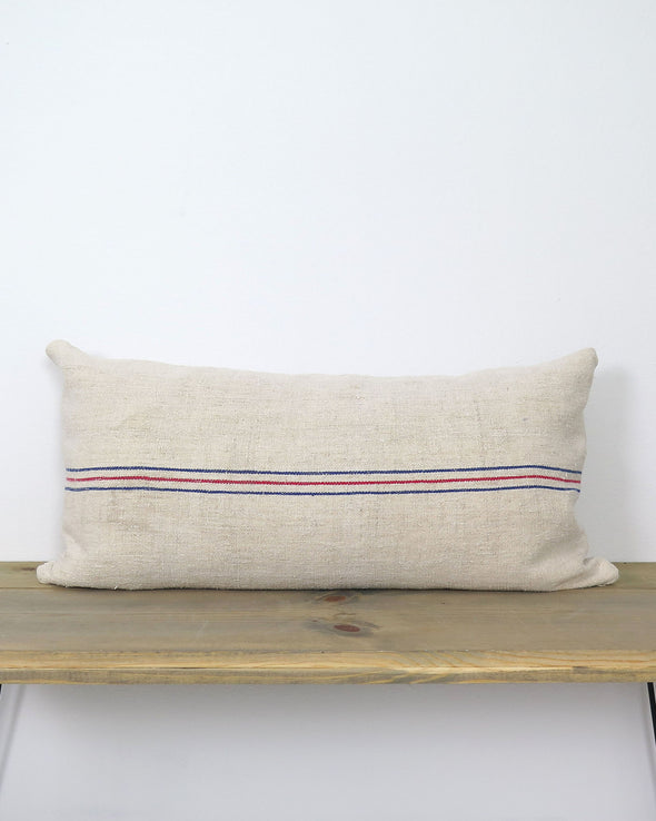 Antique Grain Sack  PIllow 18 x 34
