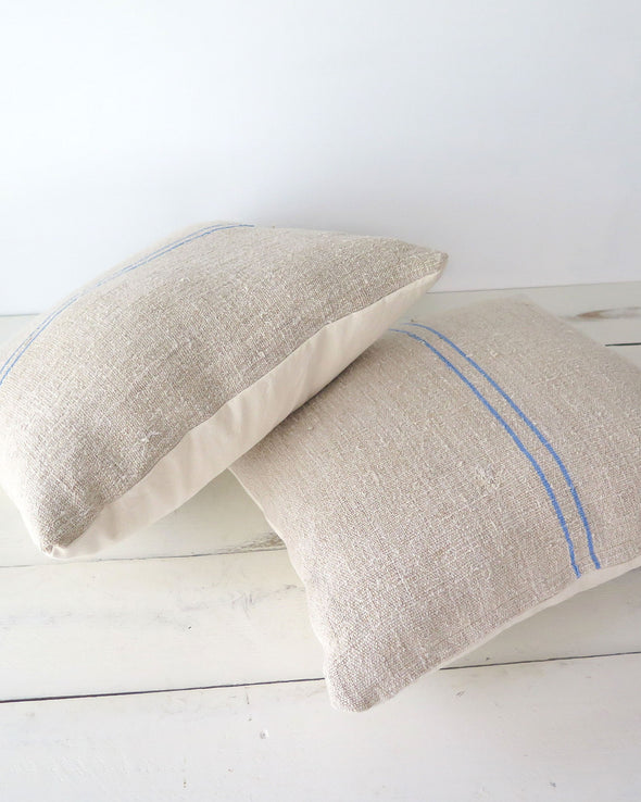 Antique Linen Grain Sack Pillows 18 x 18