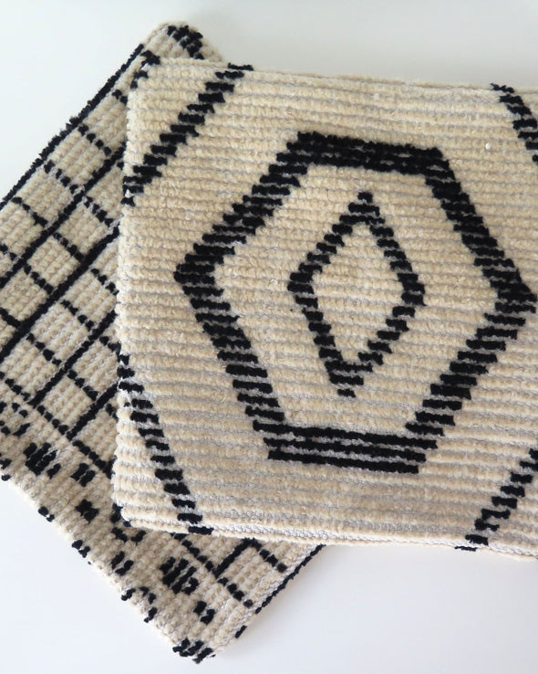 Vintage Black and Cream Moroccan Wool Pillow covers