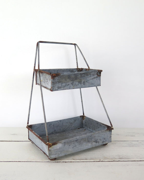 Rustic 2 Tier Galvanized Zinc Tray