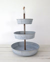 Galvanized Zinc Metal Three Tiered Tray