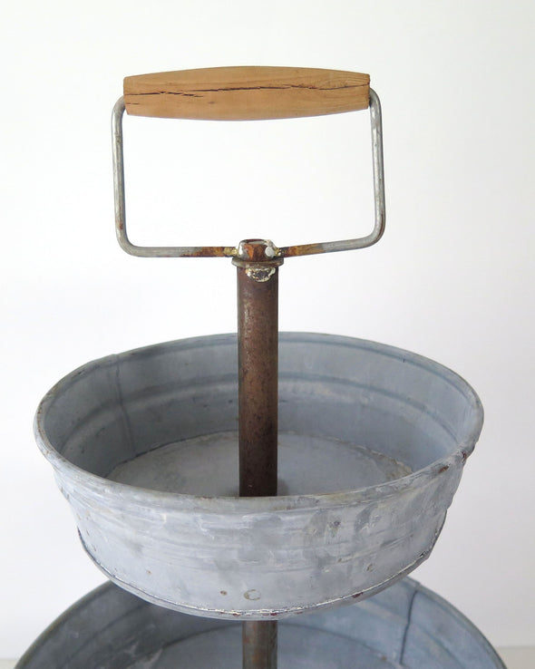 Galvanized Zinc Metal Three Tiered Tray wood handle