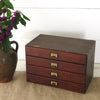 Vintage Cardboard File Box with Wood Front Drawers