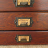 Vintage Cardboard File Box with Wood Front Drawers close up