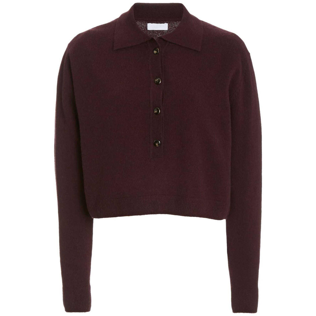 SABLYN KNOX COLLARED CASHMERE SWEATER IN BORDEAUX - SWITCH BOUTIQUE