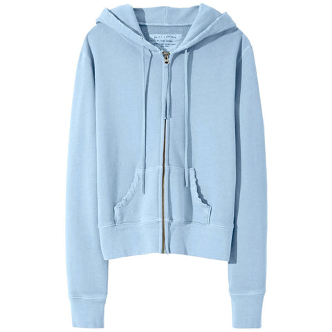 NILI LOTAN CALLIE ZIP UP HOODIE IN LIGHT BLUE