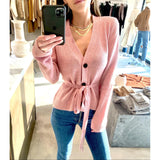BROCK COLLECTION BELTED CASHMERE CARDIGAN IN PINK - SWITCH BOUTIQUE