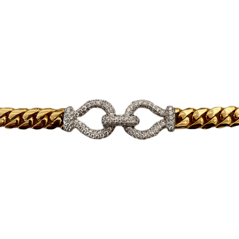 18K INTERLOCKING DIAMOND CURB LINK BRACELET - SWITCH BOUTIQUE