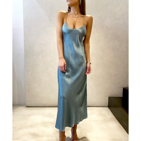 MICHELLE MASON BIAS MIDI SLIP DRESS IN CERULEAN - SWITCH BOUTIQUE
