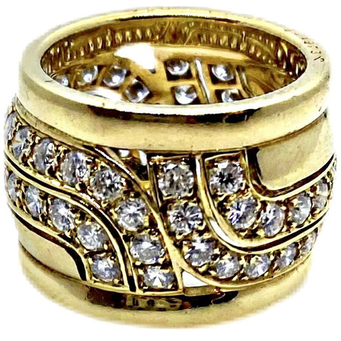 VINTAGE CARTIER PARIS 18K DIAMOND WAVE RING