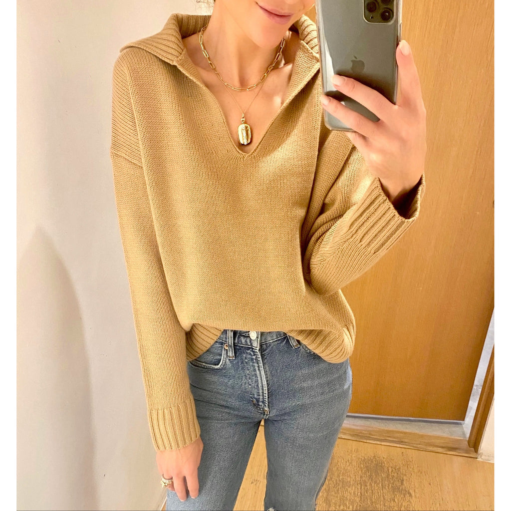 NILI LOTAN JULIE SWEATER IN CAMEL