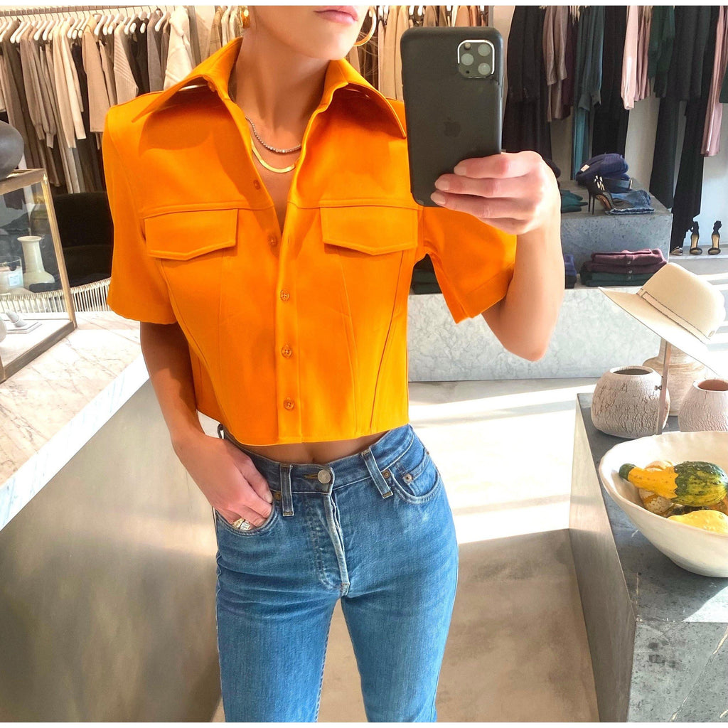 BRANDON MAXWELL CROPPED COTTON POPLIN SHIRT IN MARIGOLD - SWITCH BOUTIQUE