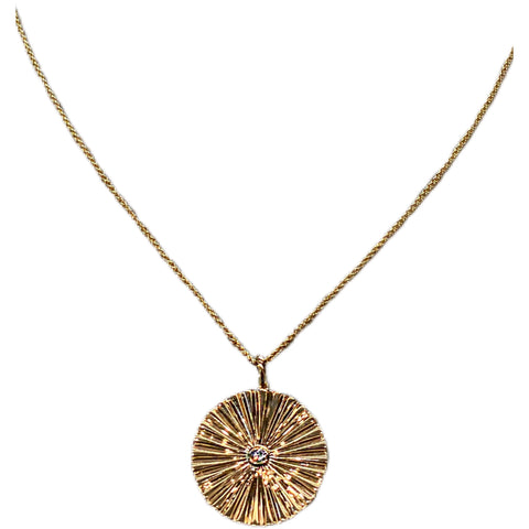 YELLOW GOLD STARBURST PENDANT NECKLACE