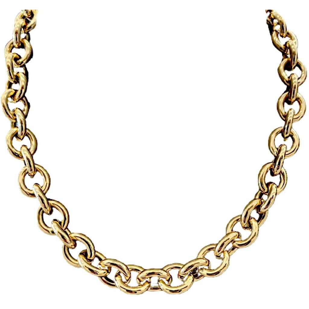 YELLOW GOLD ROUND LINK NECKLACE - SWITCH BOUTIQUE