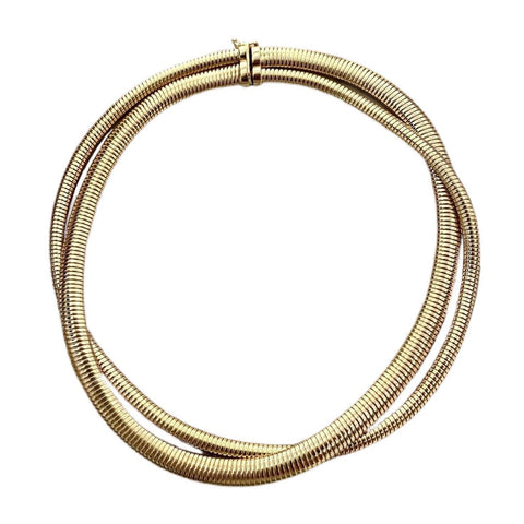 14K YELLOW GOLD DOUBLE WRAP OMEGA NECKLACE - SWITCH BOUTIQUE
