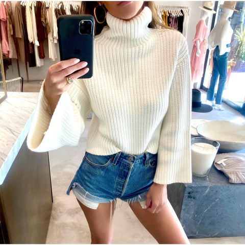 LAPOINTE CROPPED TURTLENECK SWEATER