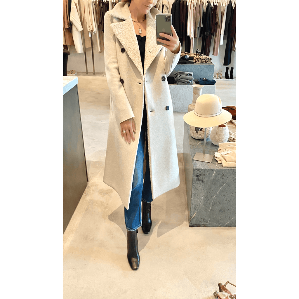 HARRIS WHARF LONDON MILITARY COAT PRESSED WOOL WITH BOUCLE DETAILS IN CREAM - SWITCH BOUTIQUE