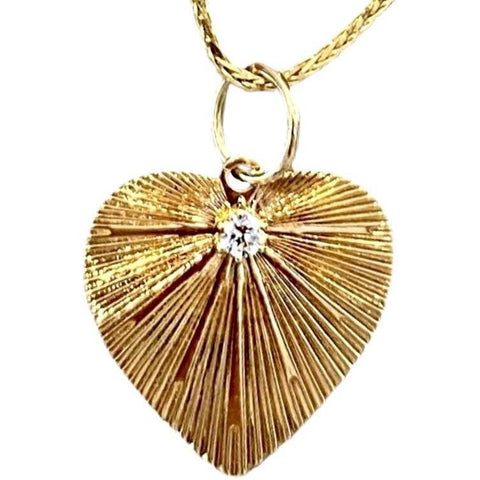 HEART PENDANT WITH SINGLE DIAMOND NECKLACE