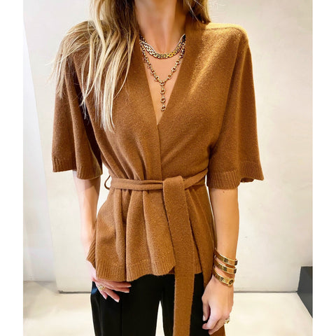 SOYER CASHMERE WRAP CARDIGAN IN CAMEL - SWITCH BOUTIQUE