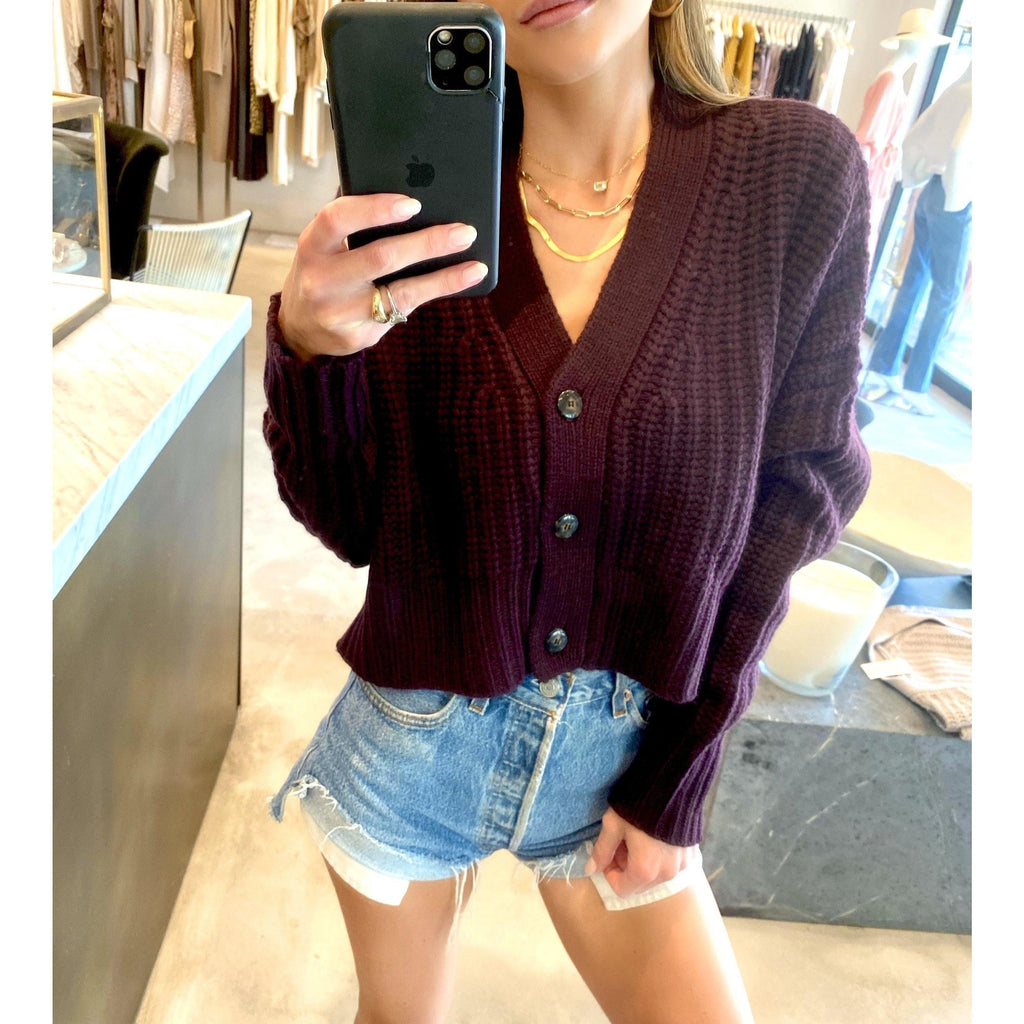 SABLYN PRESTON CROPPED CARDIGAN IN BORDEAUX - SWITCH BOUTIQUE