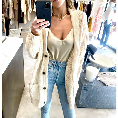 SABLYN NILES OVERSIZED CASHMERE CARDIGAN IN CREAM