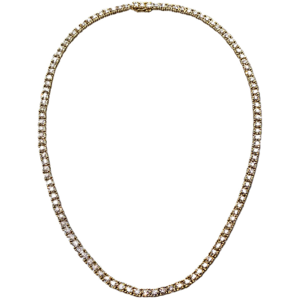YELLOW GOLD DIAMOND TENNIS NECKLACE - SWITCH BOUTIQUE