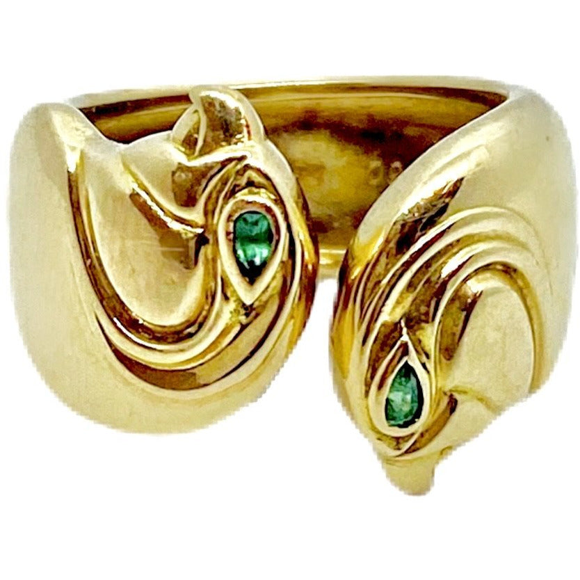 VINTAGE CARTIER PARIS DOUBLE FALCON ANOUBOIS RING IN 18 KT YELLLOW GOLD WITH EMERALDS - SWITCH BOUTIQUE