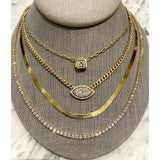 YELLOW GOLD HERRINGBONE NECKLACE - SWITCH BOUTIQUE