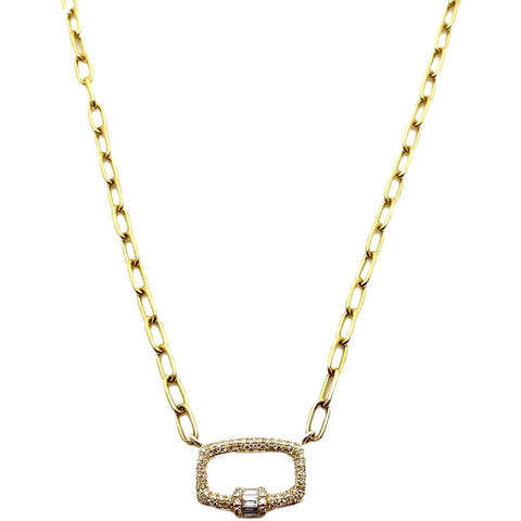DIAMOND BAGUETTE LOCK NECKLACE - SWITCH BOUTIQUE
