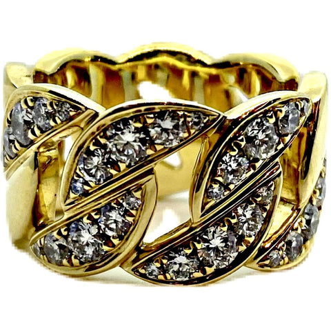 18K YELLOW GOLD DIAMOND CHAIN LINK RING