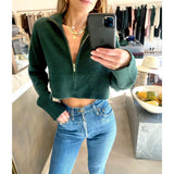 SABLYN NASH CASHMERE CROPPED SWEATER IN HUNTER GREEN - SWITCH BOUTIQUE