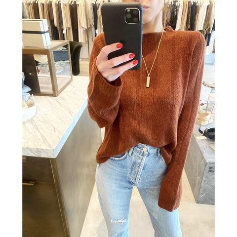 KHAITE NELLEY SWEATER IN MAHOGANY - SWITCH BOUTIQUE