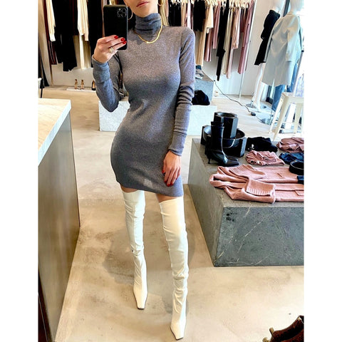 ZEYNEP ARCAY TURTLENECK KNIT MINI DRESS IN GREY BLUE
