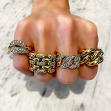 18K YELLOW GOLD DIAMOND CHAIN LINK RING - SWITCH BOUTIQUE