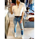 BRANDON MAXWELL CROPPED COTTON POPLIN SHIRT IN WHITE - SWITCH BOUTIQUE