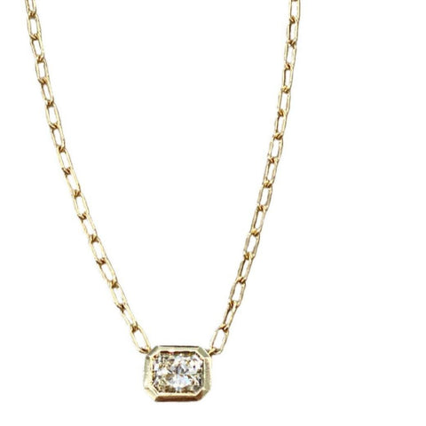 18K YELLOW GOLD BEZEL SET DIAMOND SOLITAIRE NECKLACE - SWITCH BOUTIQUE
